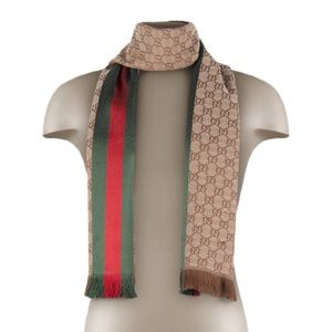 Gucci GG Jaccquard Knitted Scarf with Web